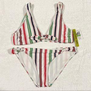 Gianni Bini Multicolor Stiped Bikini Set